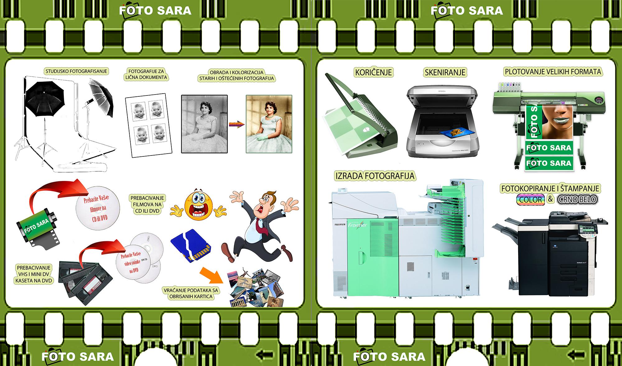 fotografske i štamparske usluge u firmi Foto Sara